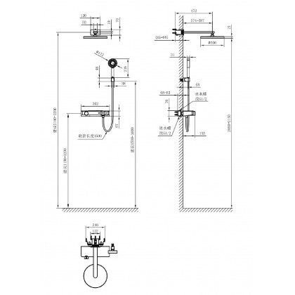 AXENT F365-1220-M1 concealed thermostatic shower system AXENT.ZERO