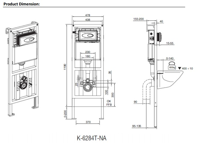 K-6284T-NA KOHLER HYDRO-TOWER 100 INWALL TANK WITH FRAME